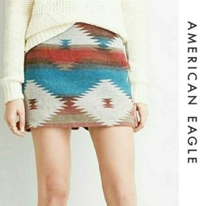 American Eagle Aztec wool blend mini skirt 12